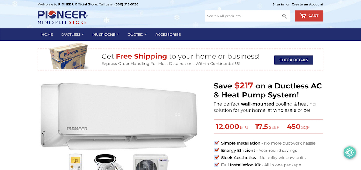Pioneer Air Conditioner WYS012 - 17 Inverter + Ductless